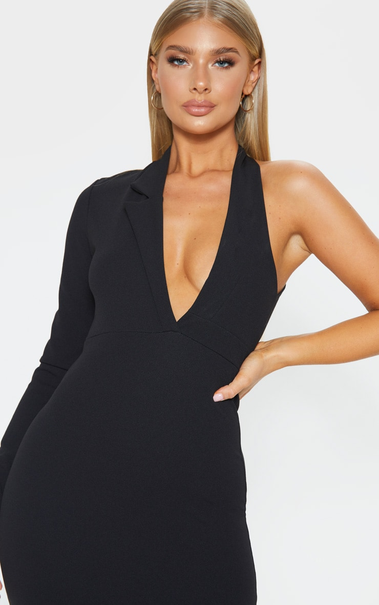 Black Cut Out One Shoulder Blazer Dress 5