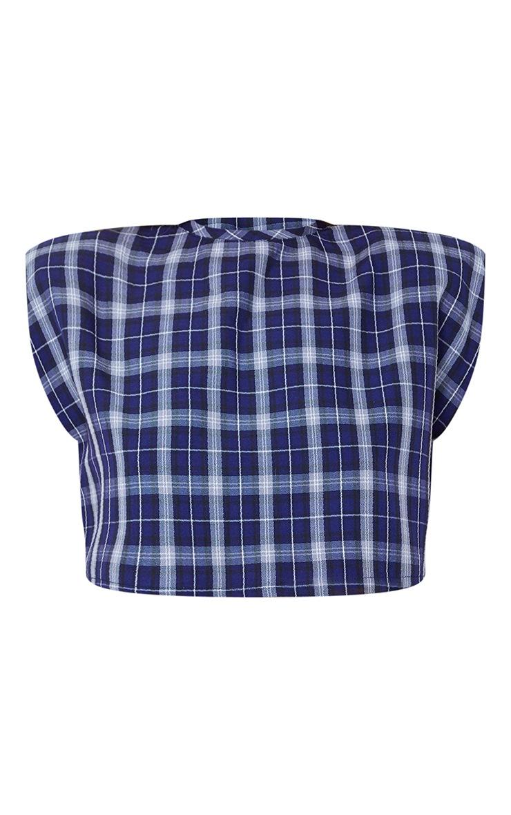 Midnight Blue Shoulder Pad Check Crop Top 5