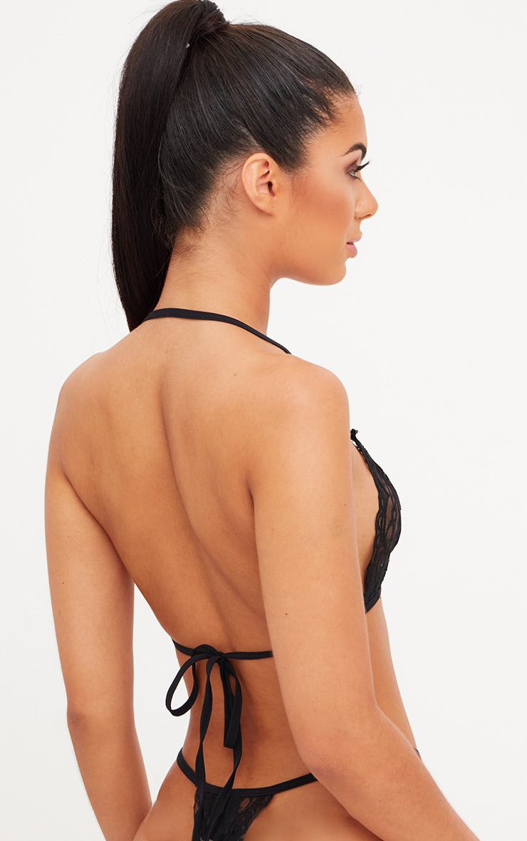 Black Halterneck Lace Tie Back Bra Lingerie Set 2