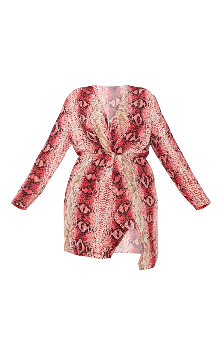 Plus Pink Snake Print Satin Long Sleeve Wrap Dress 3