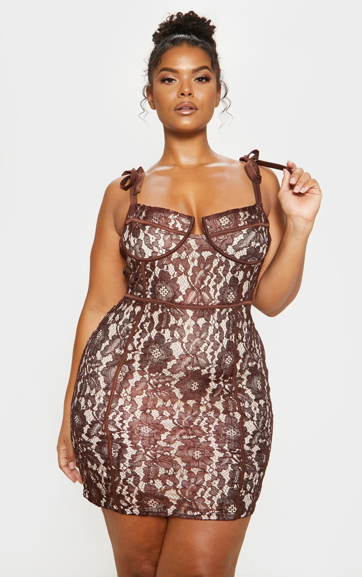Chocolate Brown Lace Tie Strap Bodycon Dress 2