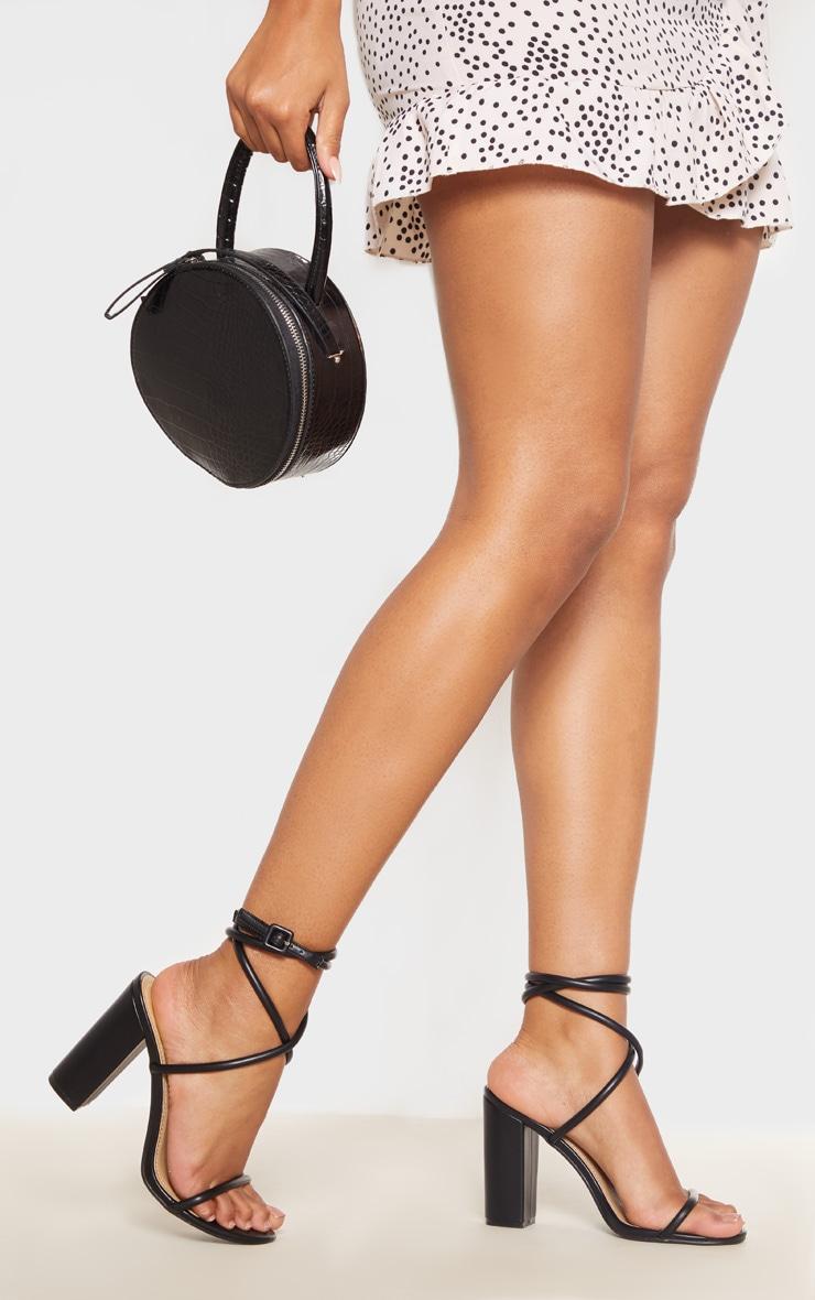 Black Tube Strappy Block Heel Sandal 1