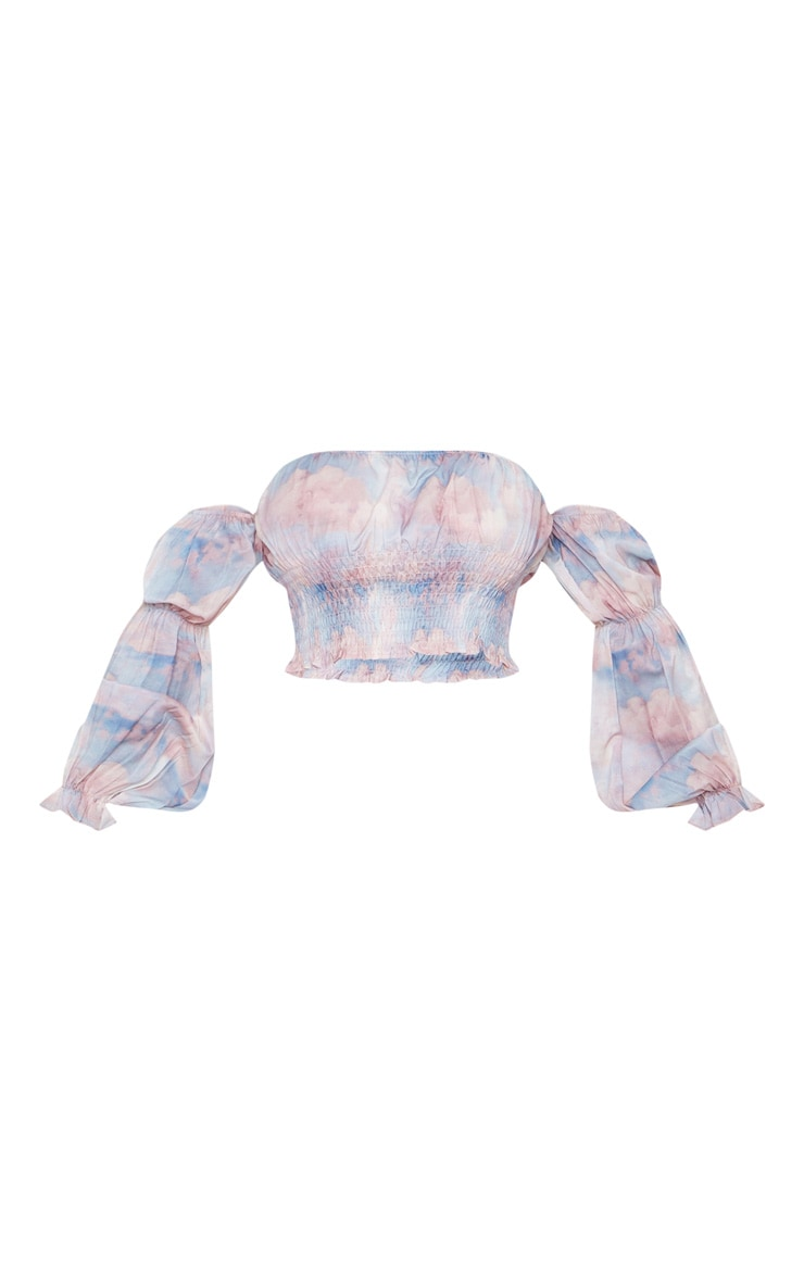 Multi Renaissance Cloud Shirred Bardot Puff Sleeve Crop Top 3