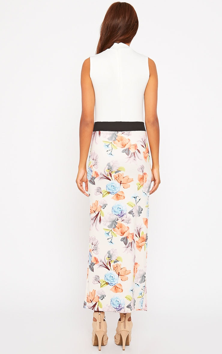 Olena White Floral High Neck Maxi Dress 2