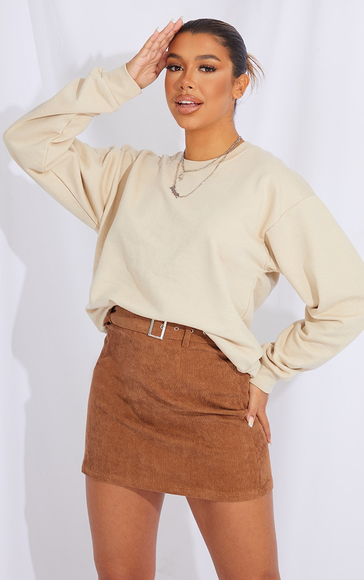 Camel Buckle Belted Cord Mini Skirt 4