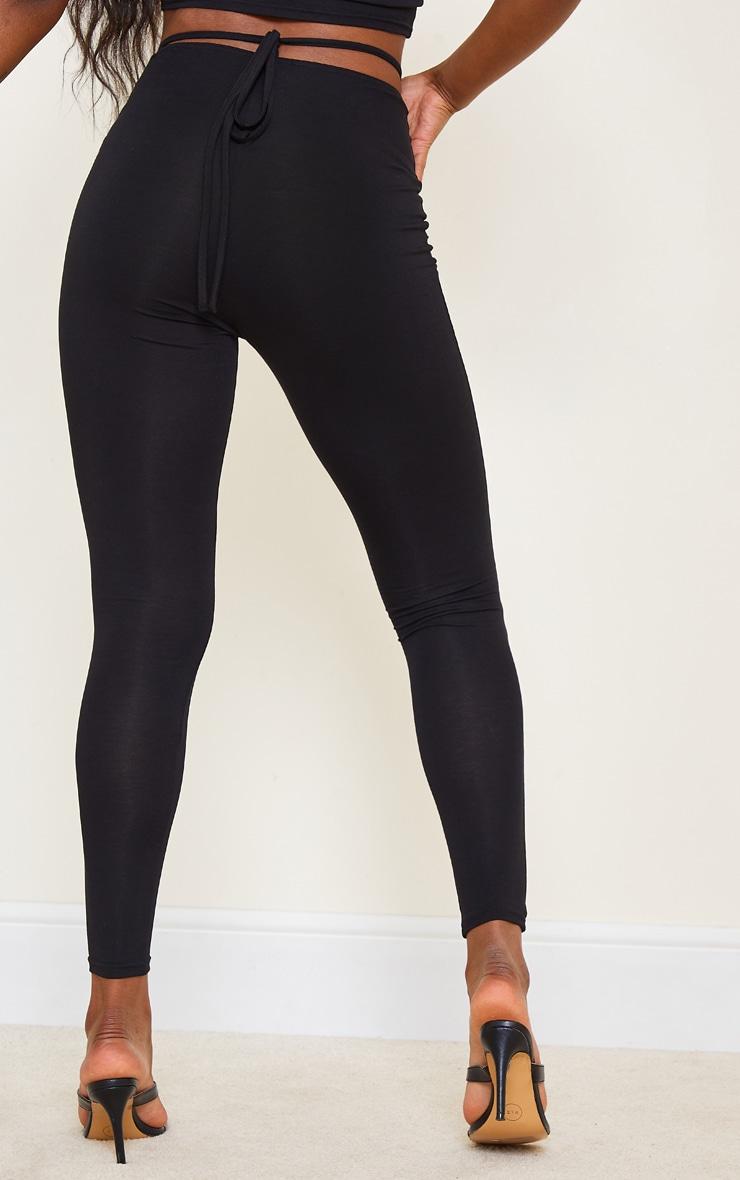 Black V Hem Low Rise Tie Waist Leggings 3
