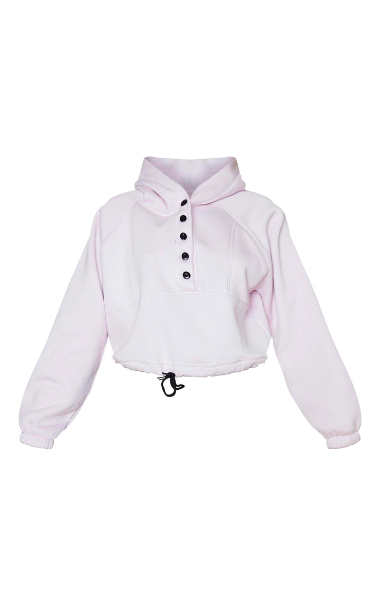 Lilac Button Front Oversized Hoodie 5