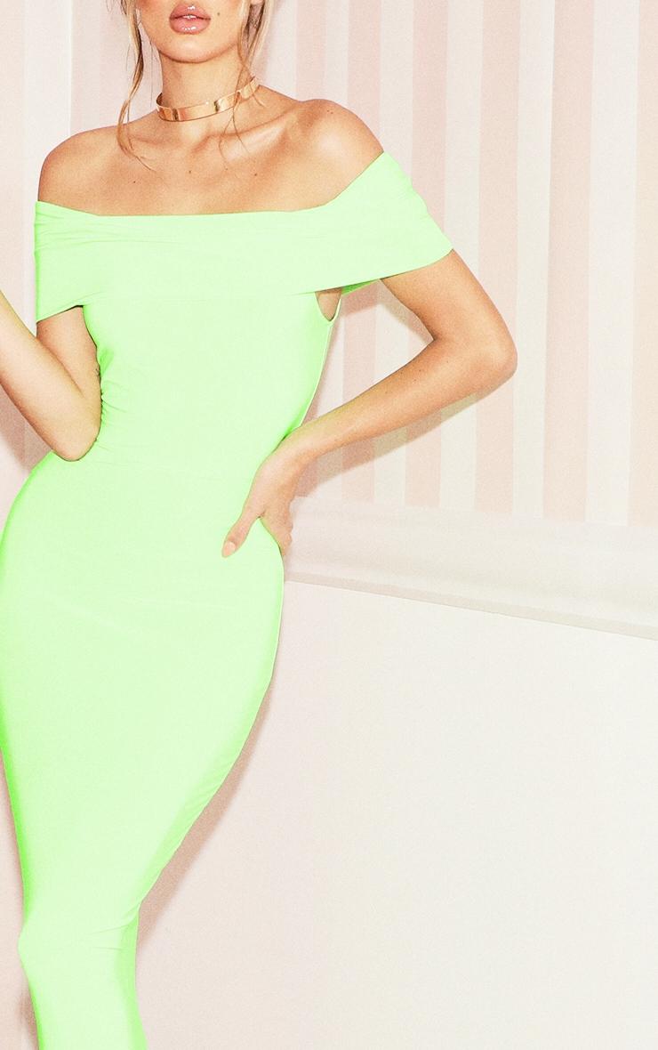 Neon Lime Bardot Maxi Dress 4