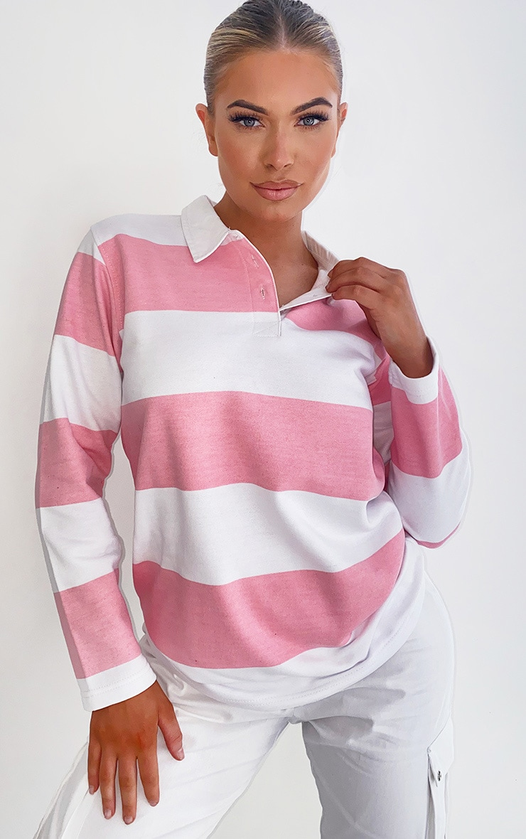 Pink Stripe Rugby Shirt 1