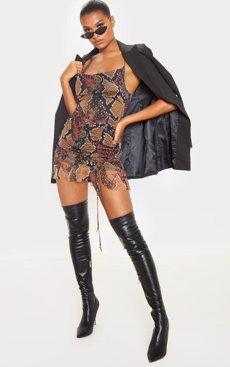 Multi Mesh Snake Print Ruched Bodycon Dress