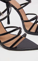 Black Patent Strappy Point Toe Heels 3