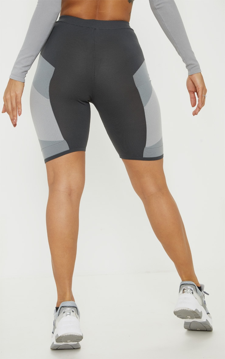 Grey Seamless Knit Panelled Gym Cycle Short 4