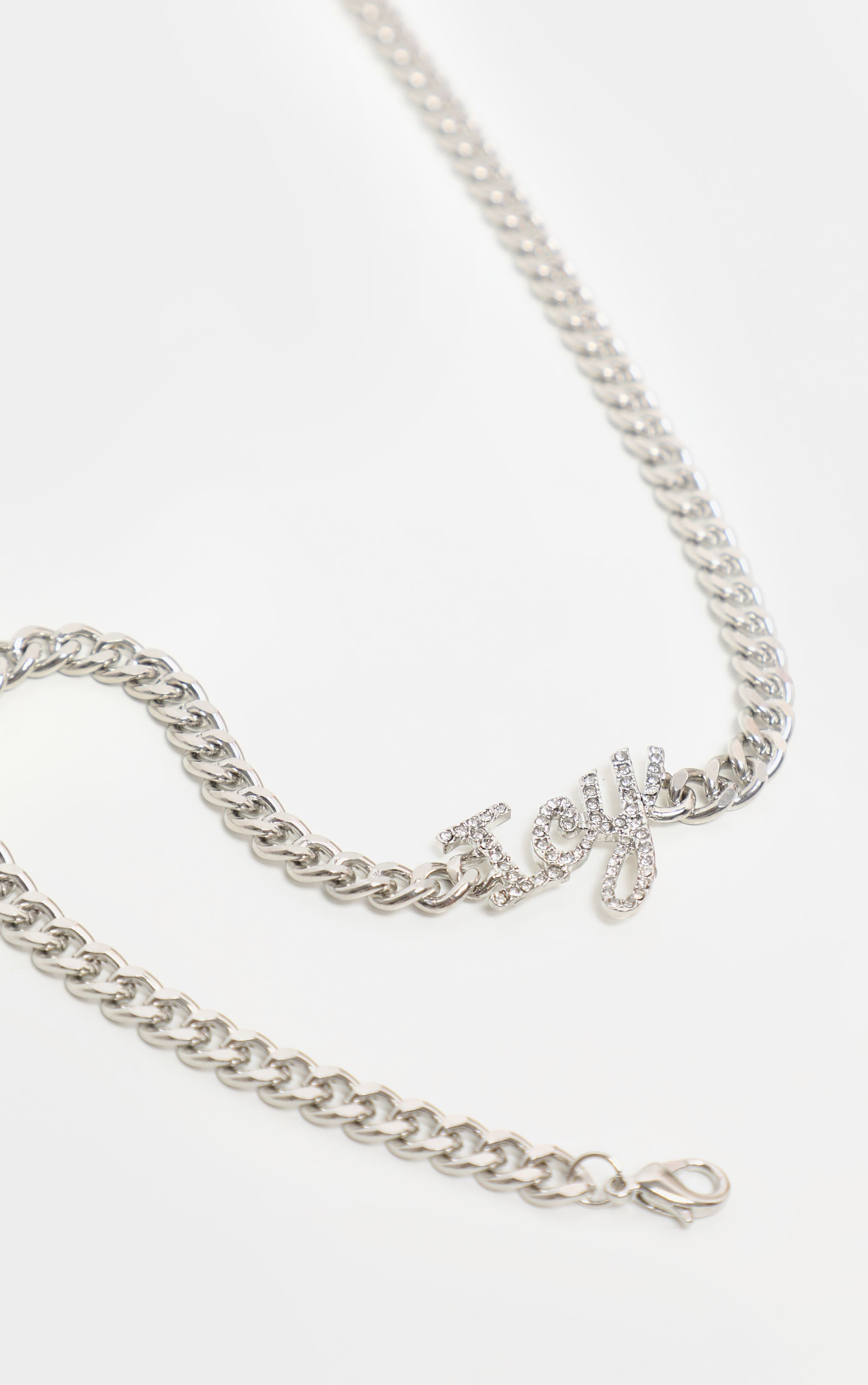 Silver Diamante Icy Slogan Short Chain Necklace 3