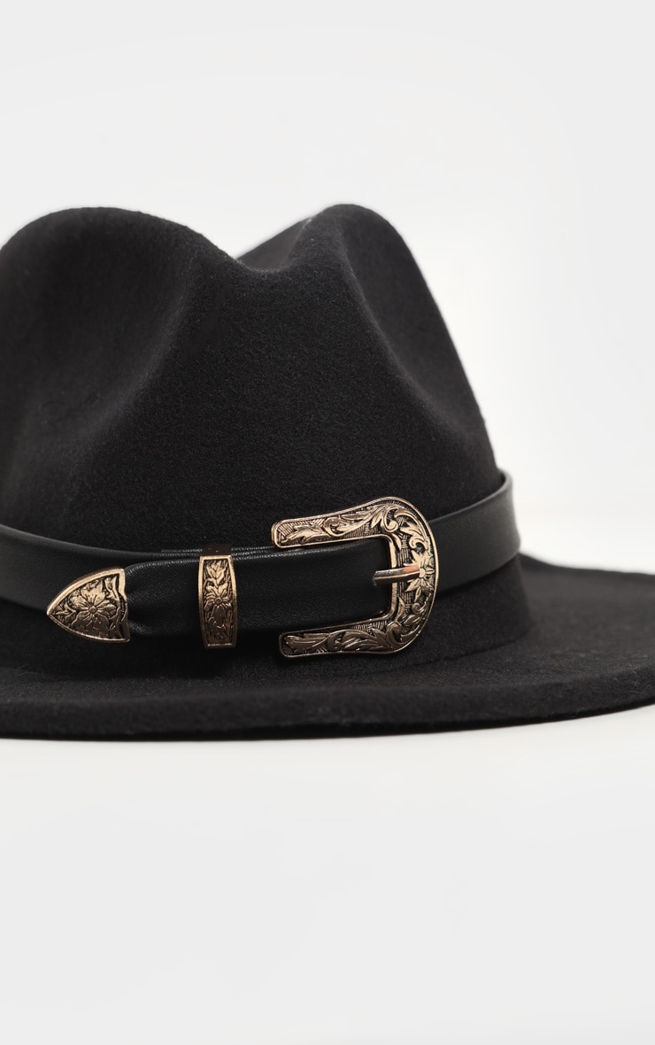 Black Western Buckle Trim Fedora Hat 3
