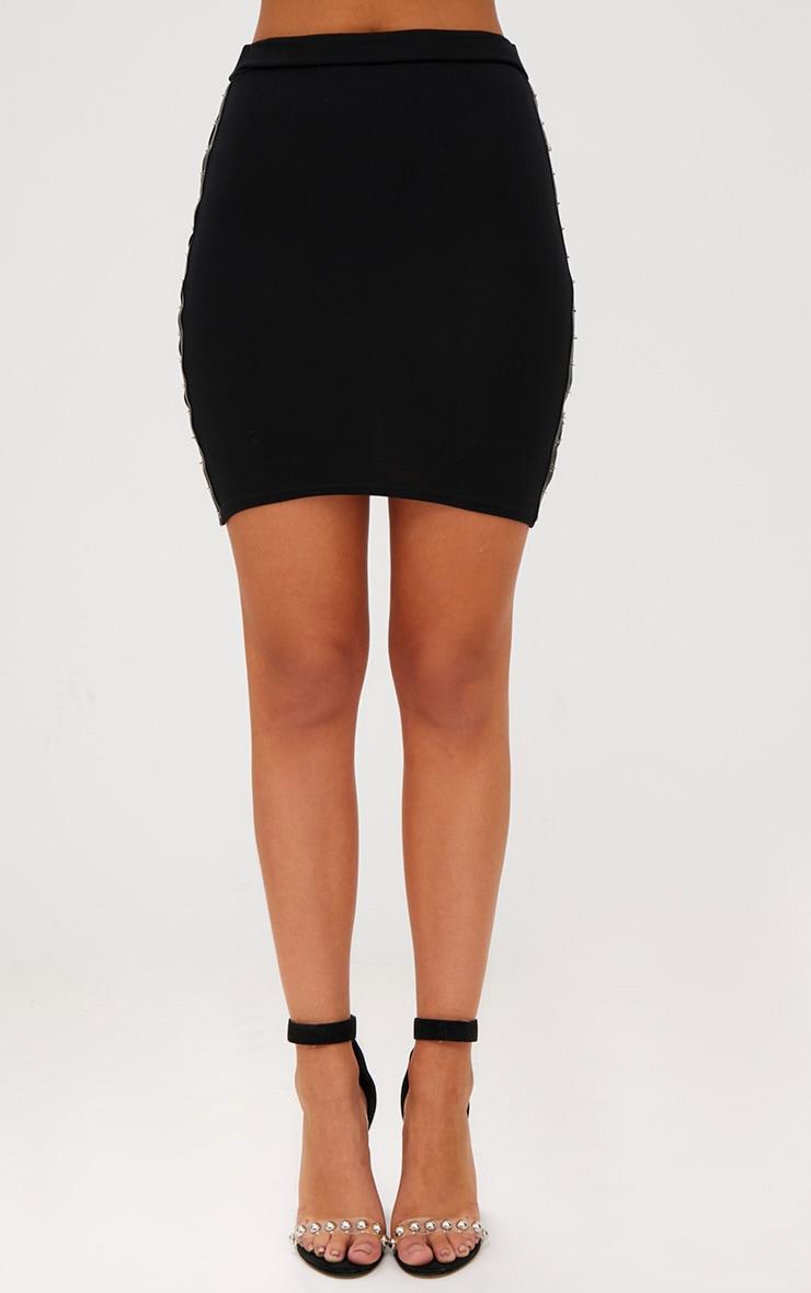 Black Chain Split Mini Skirt  2