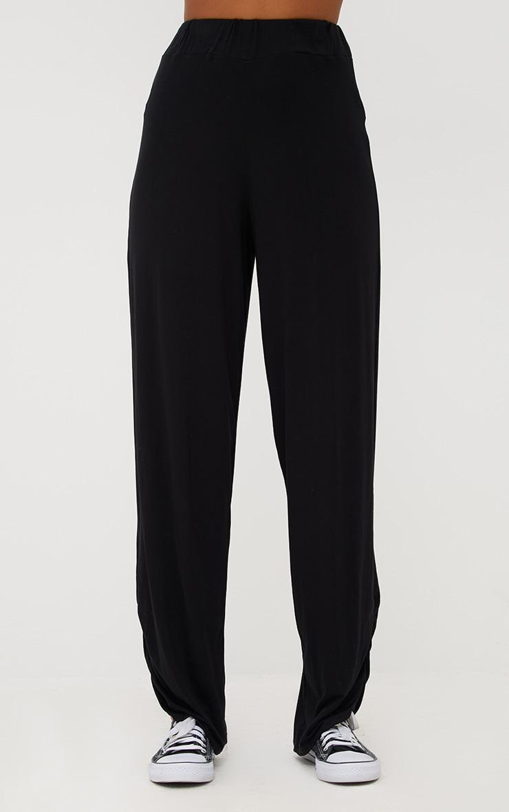 Black Jersey Ruche Hem Wide Leg Joggers 2