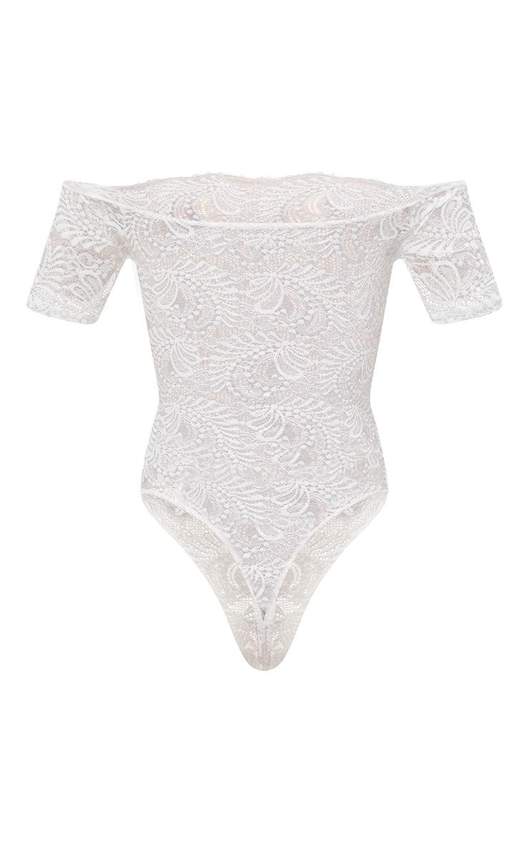 White Bardot Sheer Lace Thong Bodysuit 4