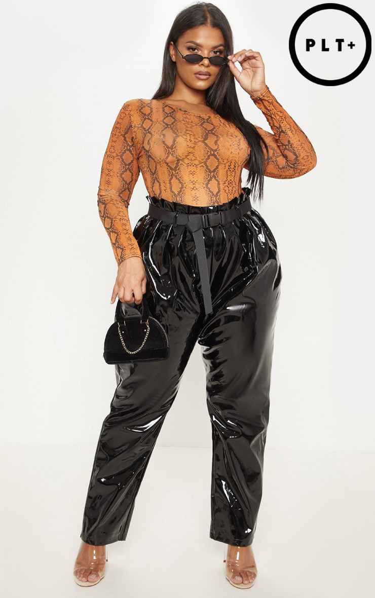 Plus Black Vinyl Belted Peg Leg Pants