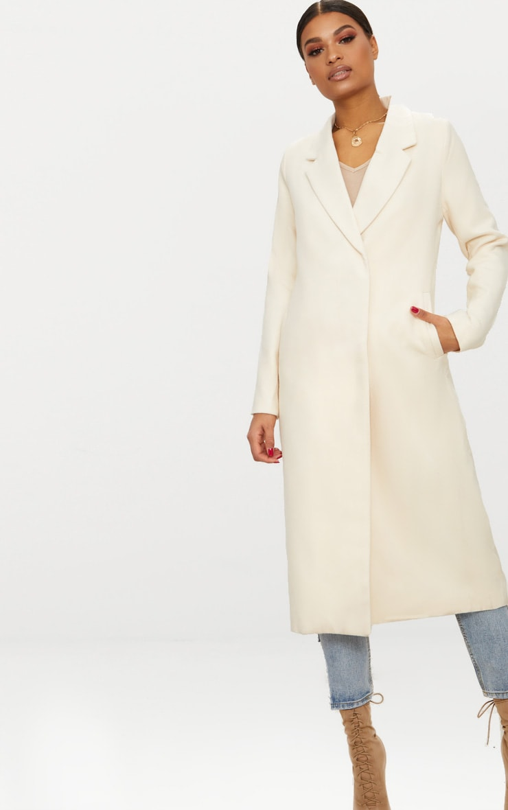 Cream Double Breasted Longline Coat 4
