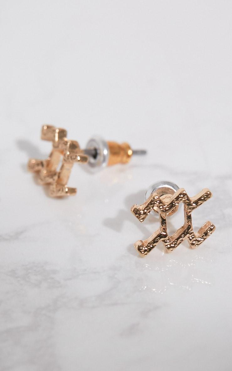 Gold Zodiac Aquarius Stud Earrings 2