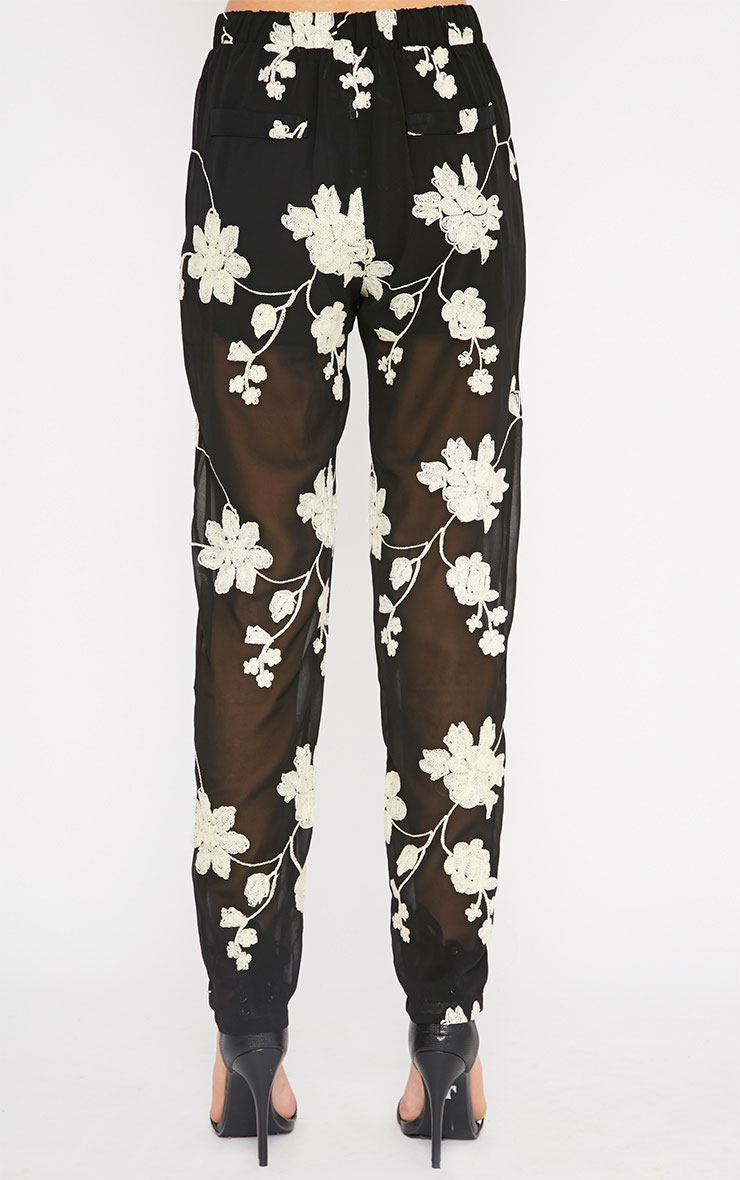 Aithne Black Floral Embroidered Sheer Trousers 2