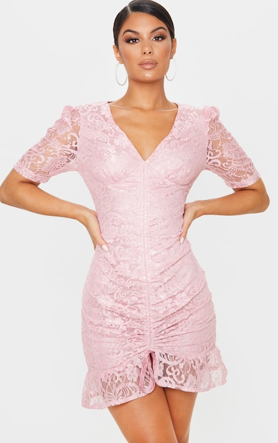 Dusty Pink Lace Ruched Detail Bodycon Dress