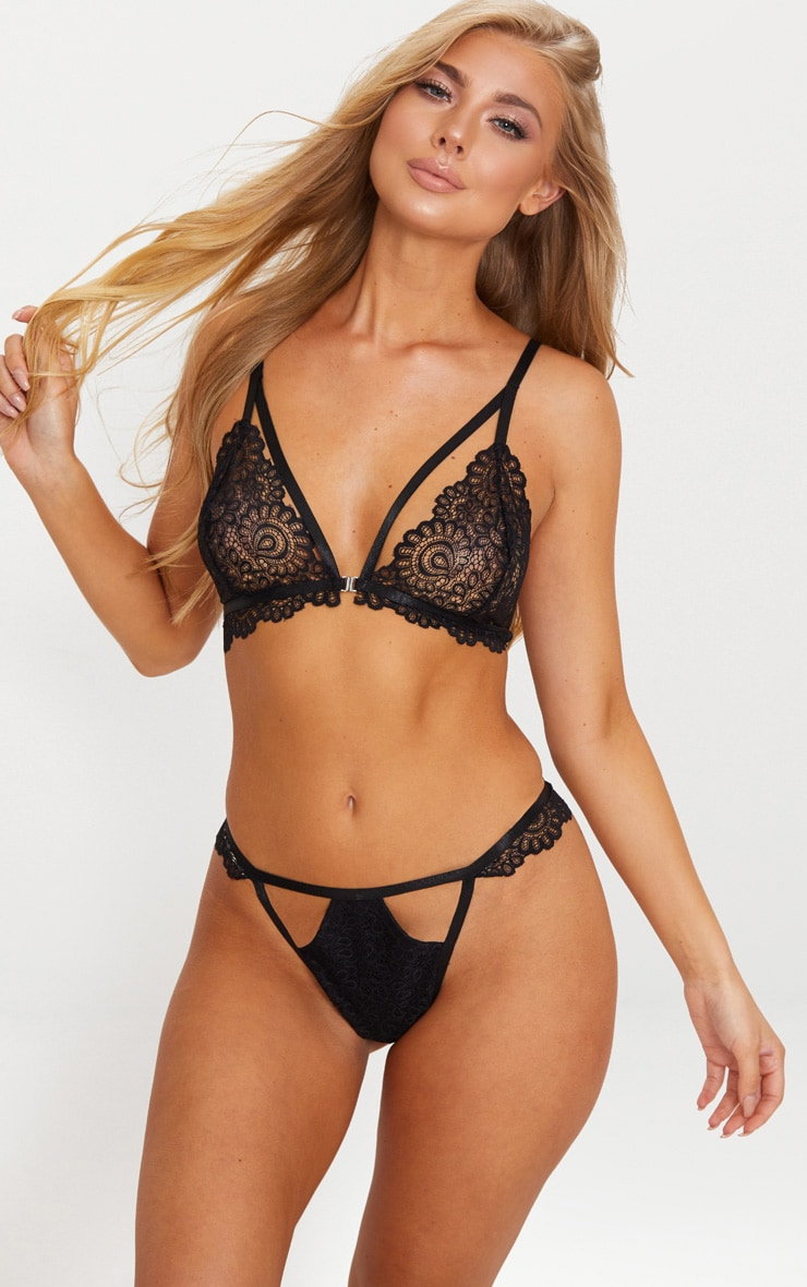 Black Daisy Lace Cut Out Front Thong