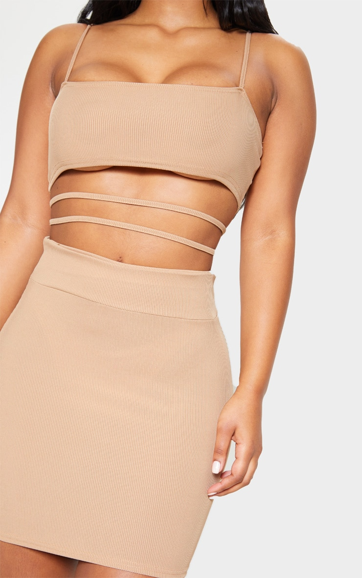 Stone Ribbed Strappy Cut Out Detail Bodycon Dress 5
