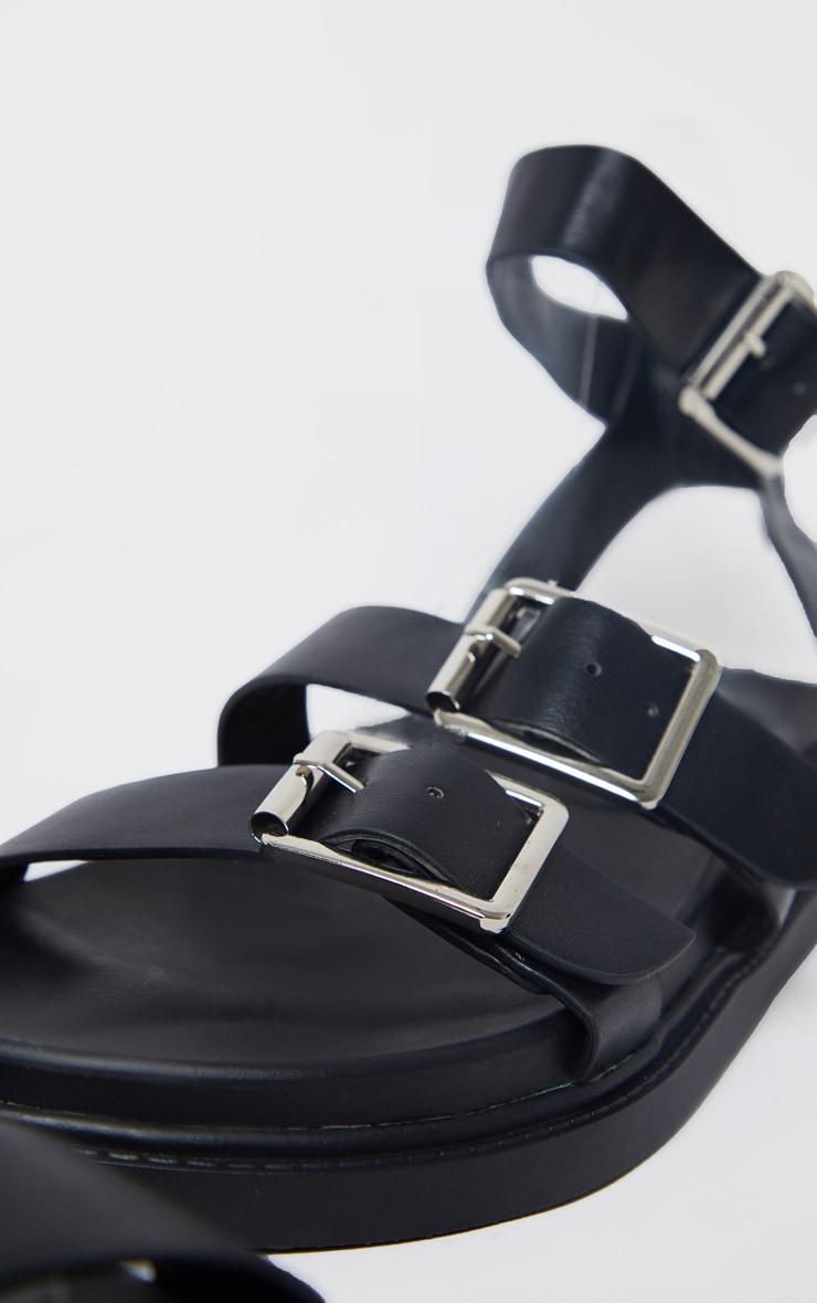Sandales carrées en similicuir noir à boucles 3