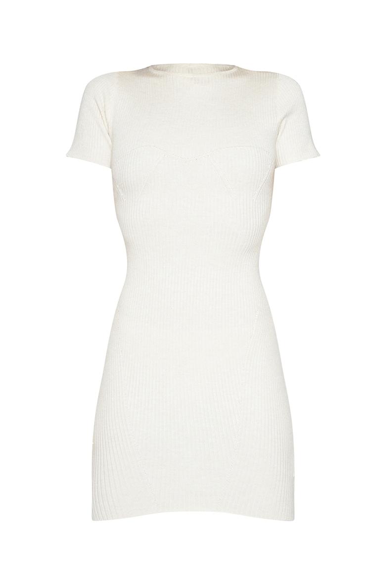 Cream Bust Detail Short Sleeve Knitted Mini Dress 5
