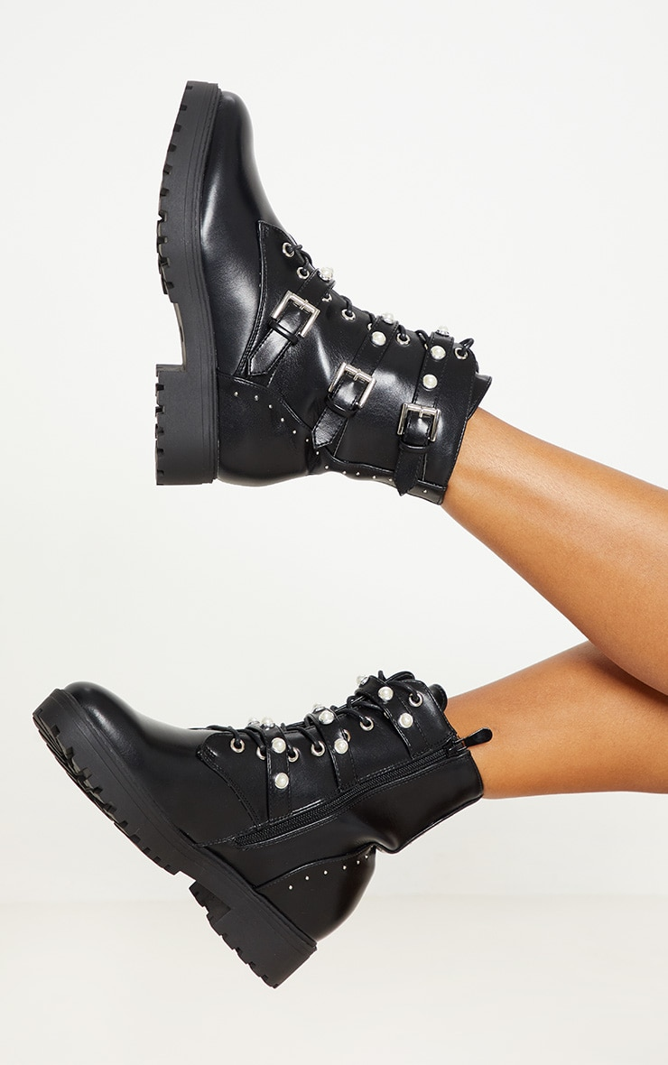 Black Lace Up Pearl Studded Biker Boot  2
