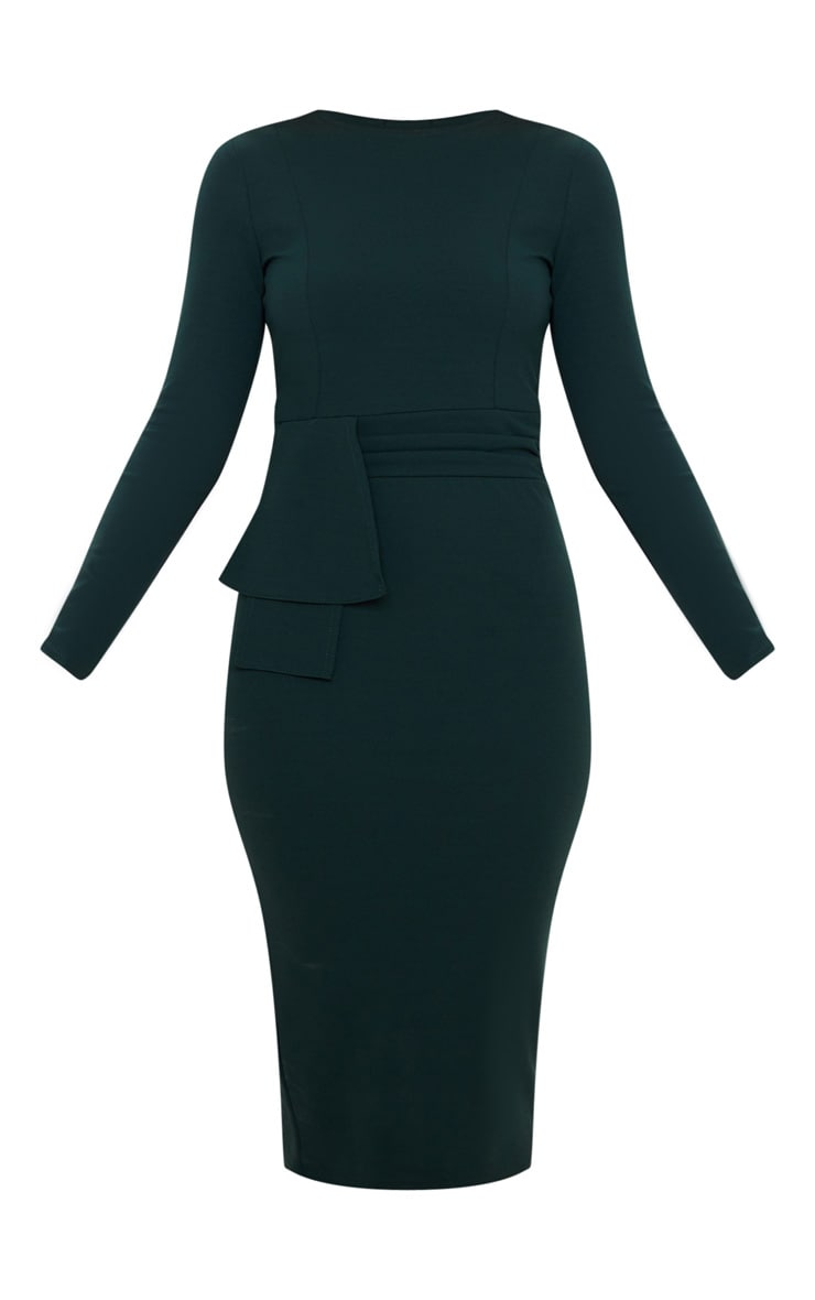 Emerald Green Long Sleeve Wrap Waist Midi Dress 3