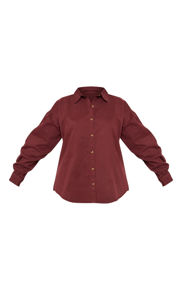 Plus Burgundy Denim Tortoise Button Puff Sleeve Shirt 3