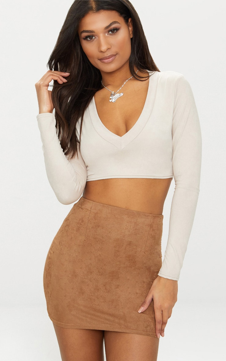 Tan Faux Suede Mini Skirt  1