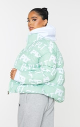 PRETTYLITTLETHING Petite Sage Green Printed Cropped Puffer 2