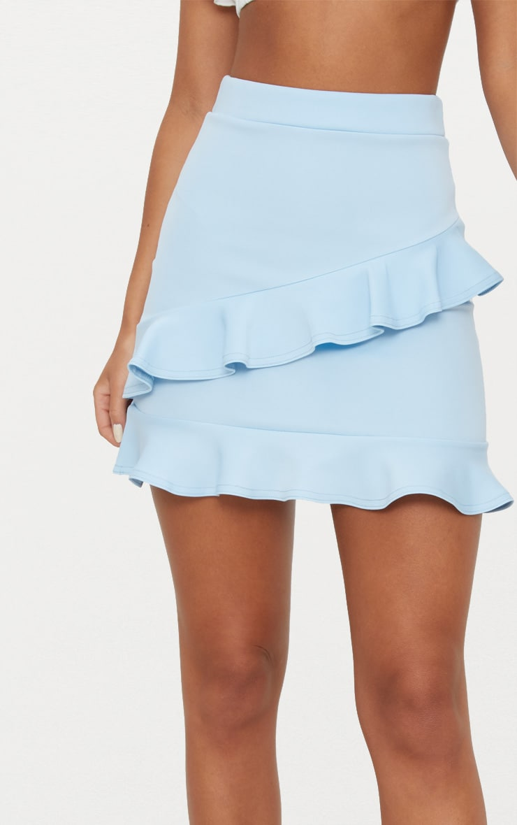 Blue Scuba Double Frill Mini Skirt 5