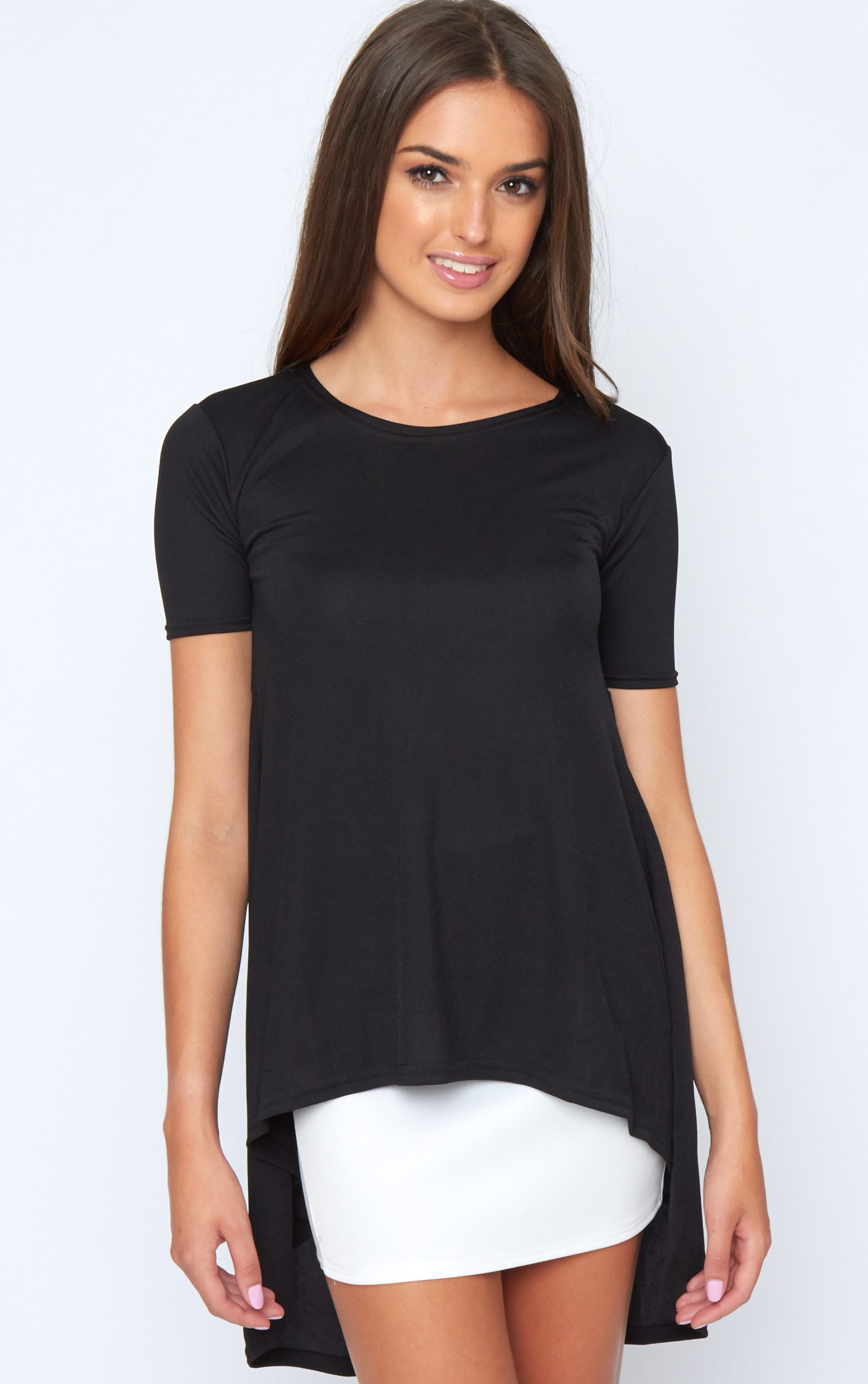 Roya Black Split Dip Hem Top 1