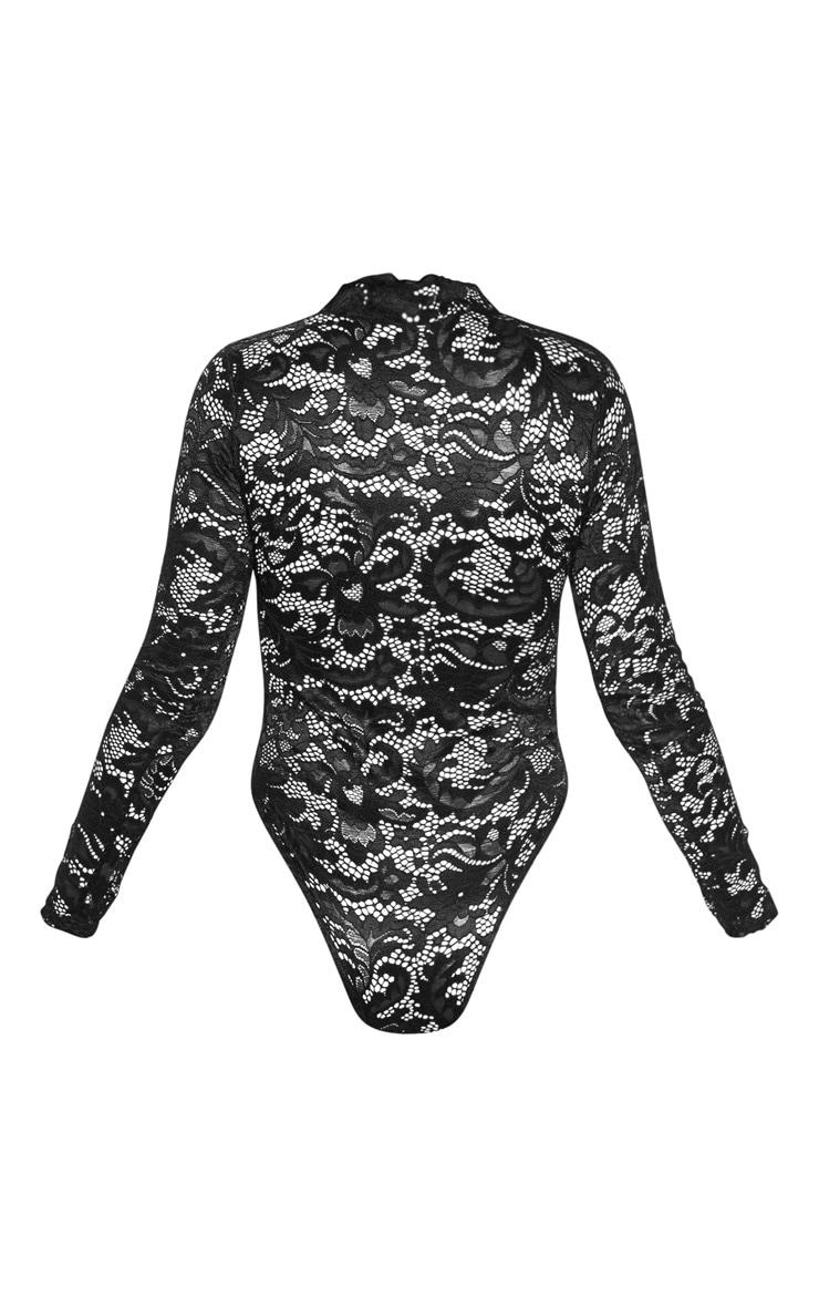 Body noir en dentelle transparente et ourlet festonné 4
