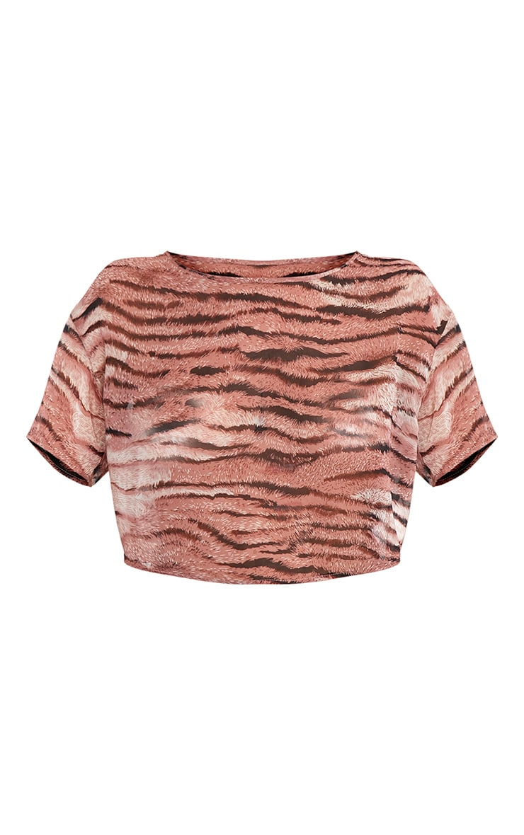 Chloee Pink  Sheer Tiger Print Crop Top 3