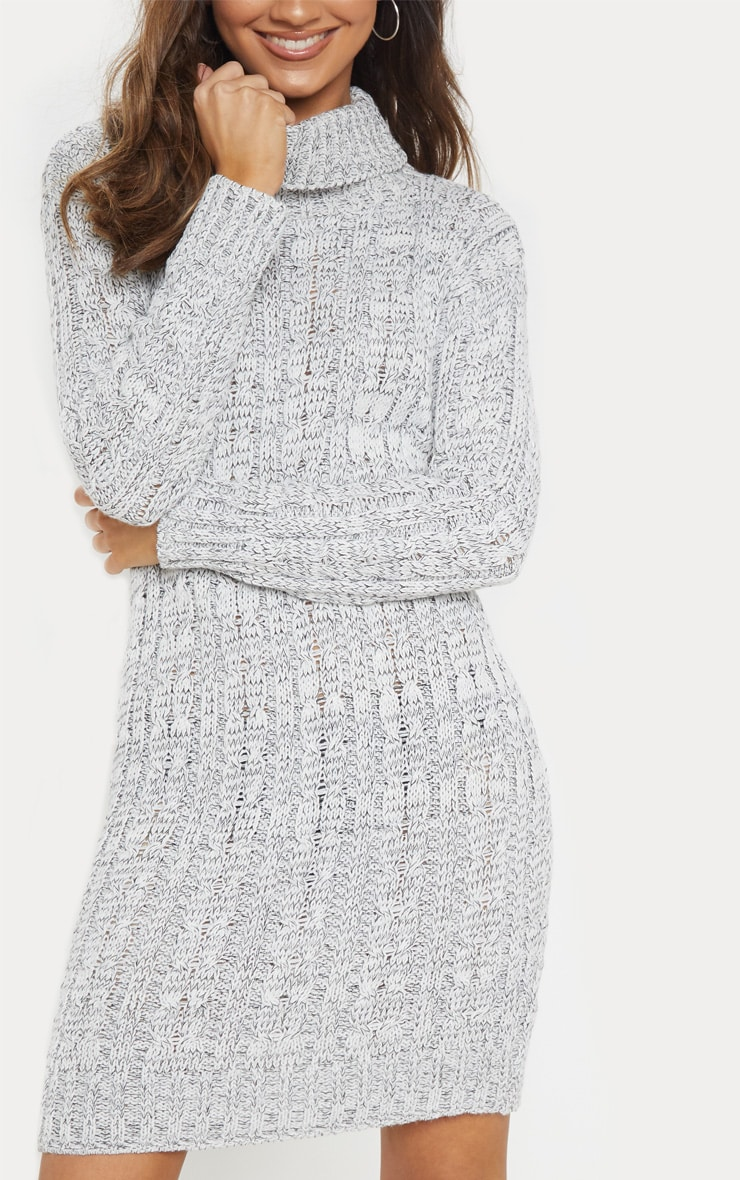 Grey Cable Knit High Neck Jumper Dress 5