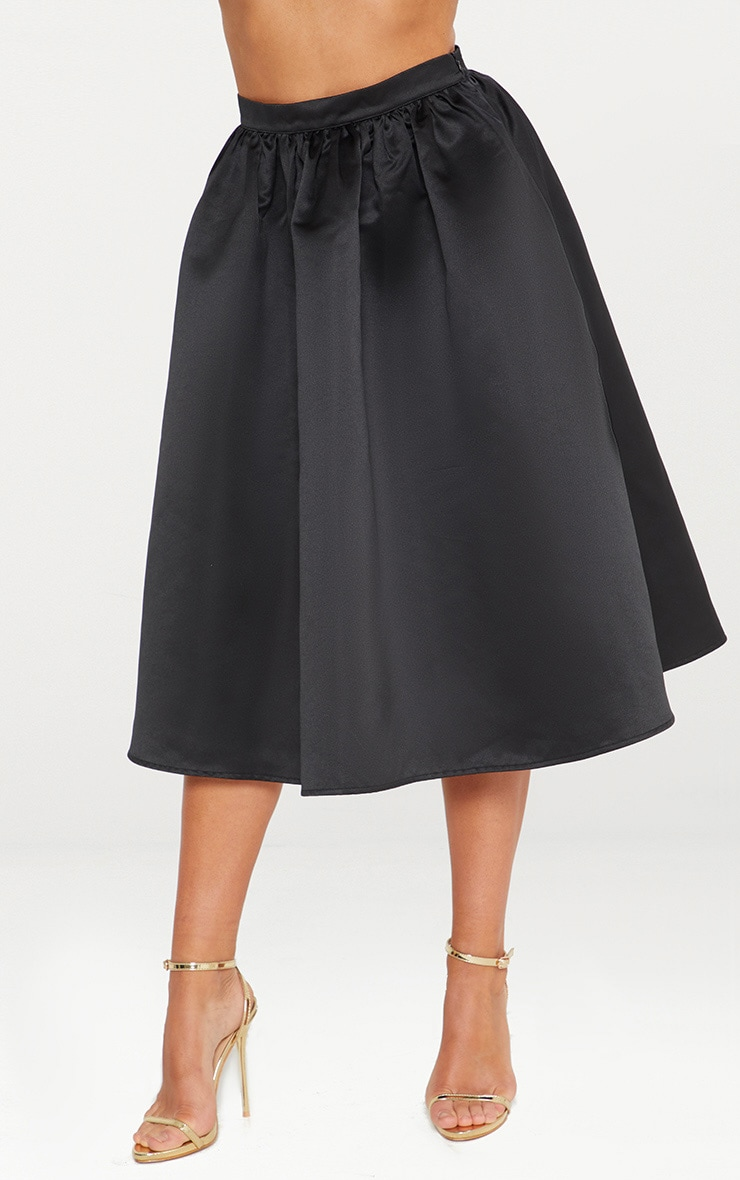 Black Satin Full Midi Skirt  2