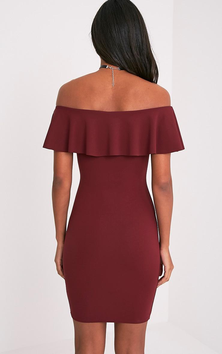 Amandie Wine Frill Bardot Floral Applique Midi Dress 2