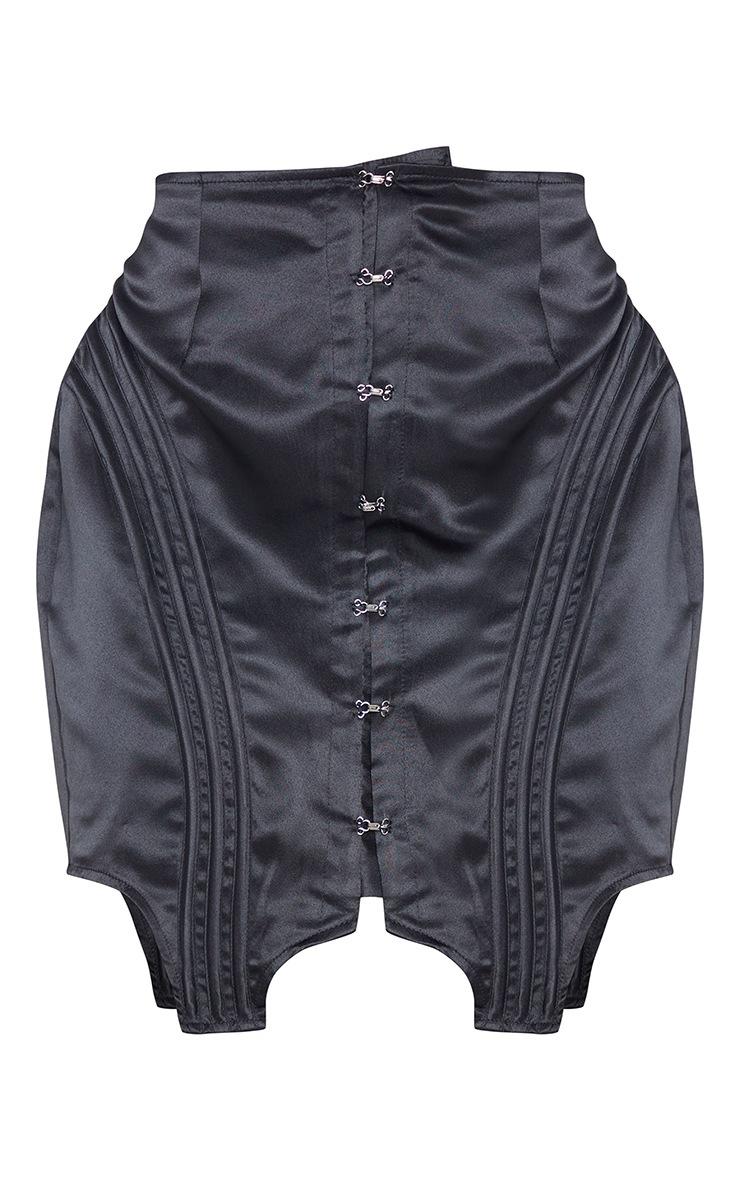 Black Satin Hook and Eye Panelled Detail Mini Skirt 6