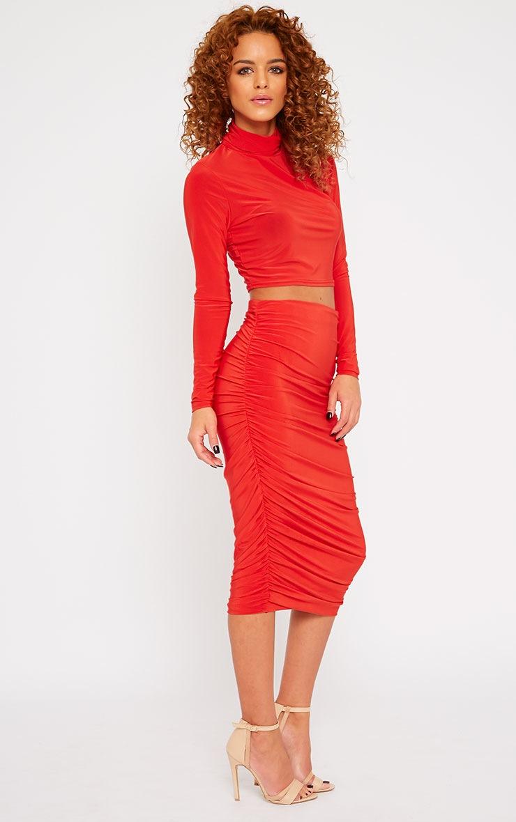 Saylor Red Slinky Gathered Midi Skirt 1
