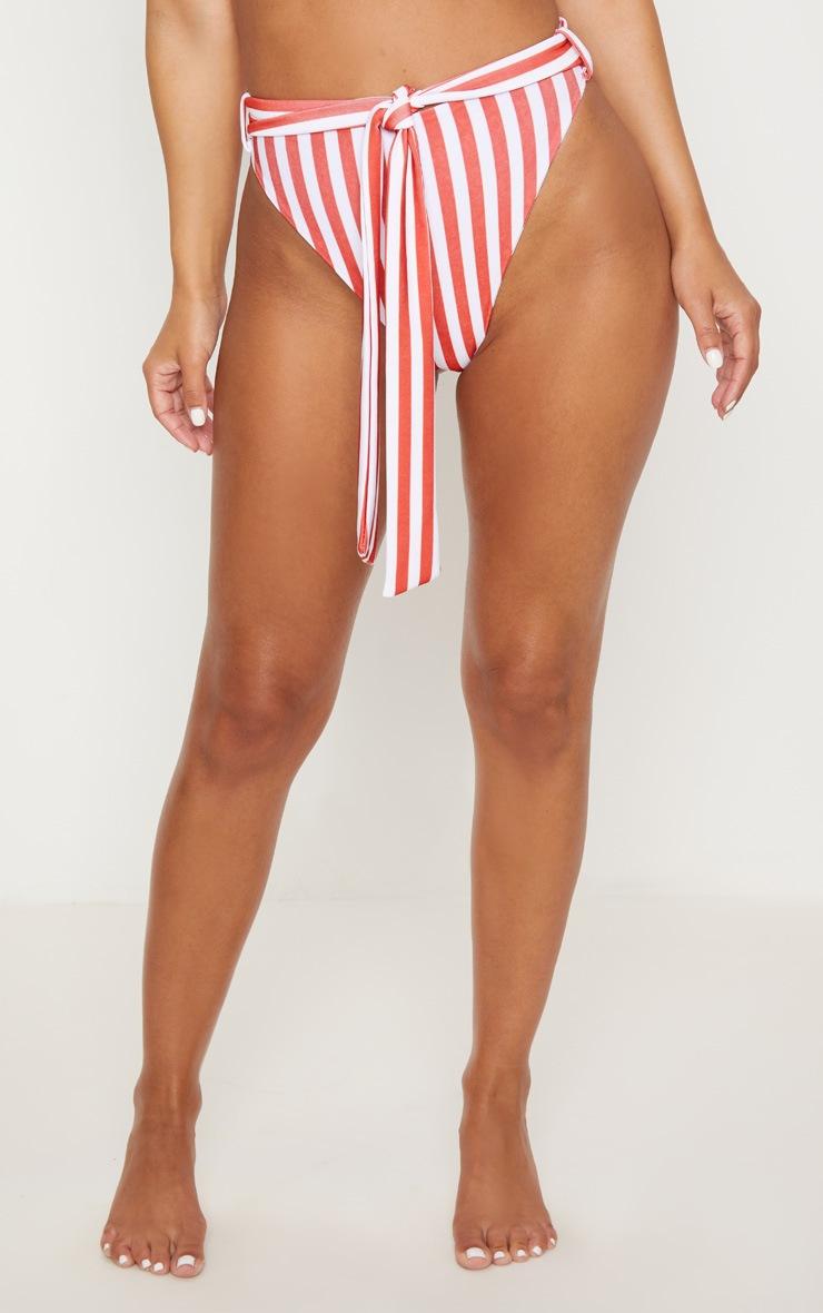 Petite Red Striped High Waisted Bikini Bottoms  2