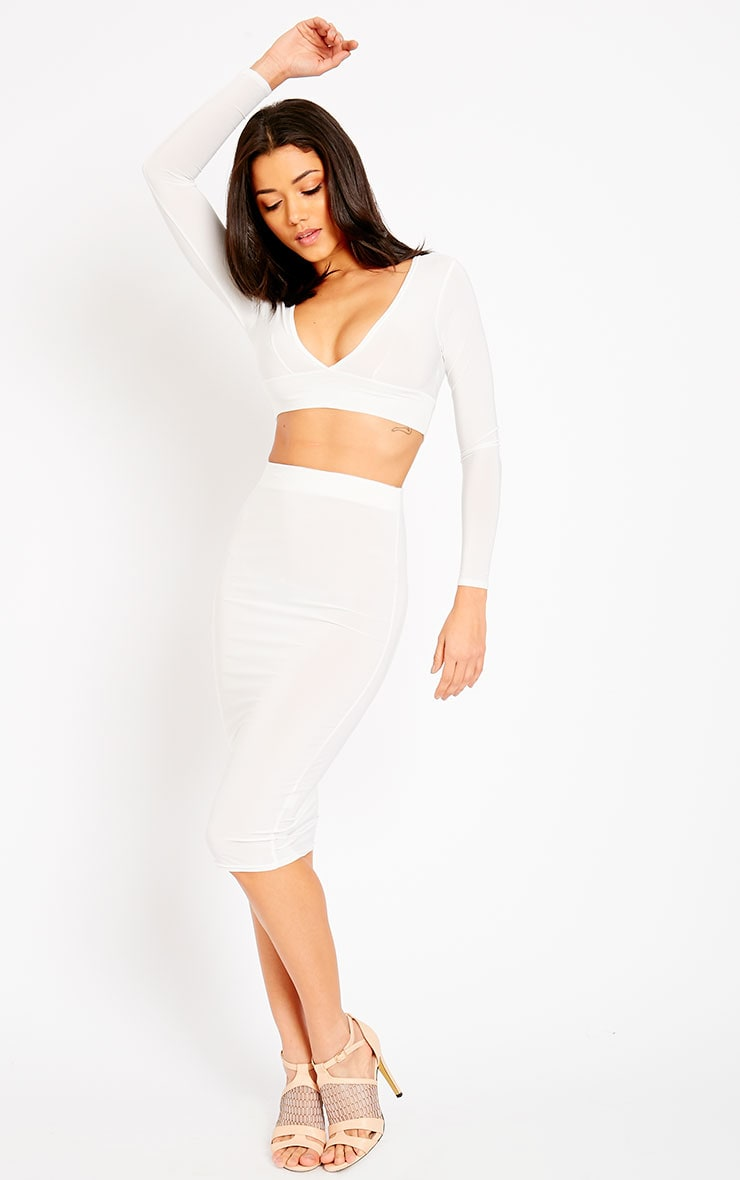 Ava Cream Slinky V-Neck Crop Top 3