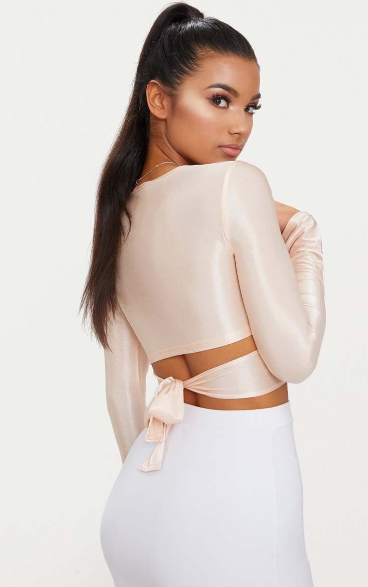 Blush Slinky Shimmer Tie Back Long Sleeve Crop Top 2