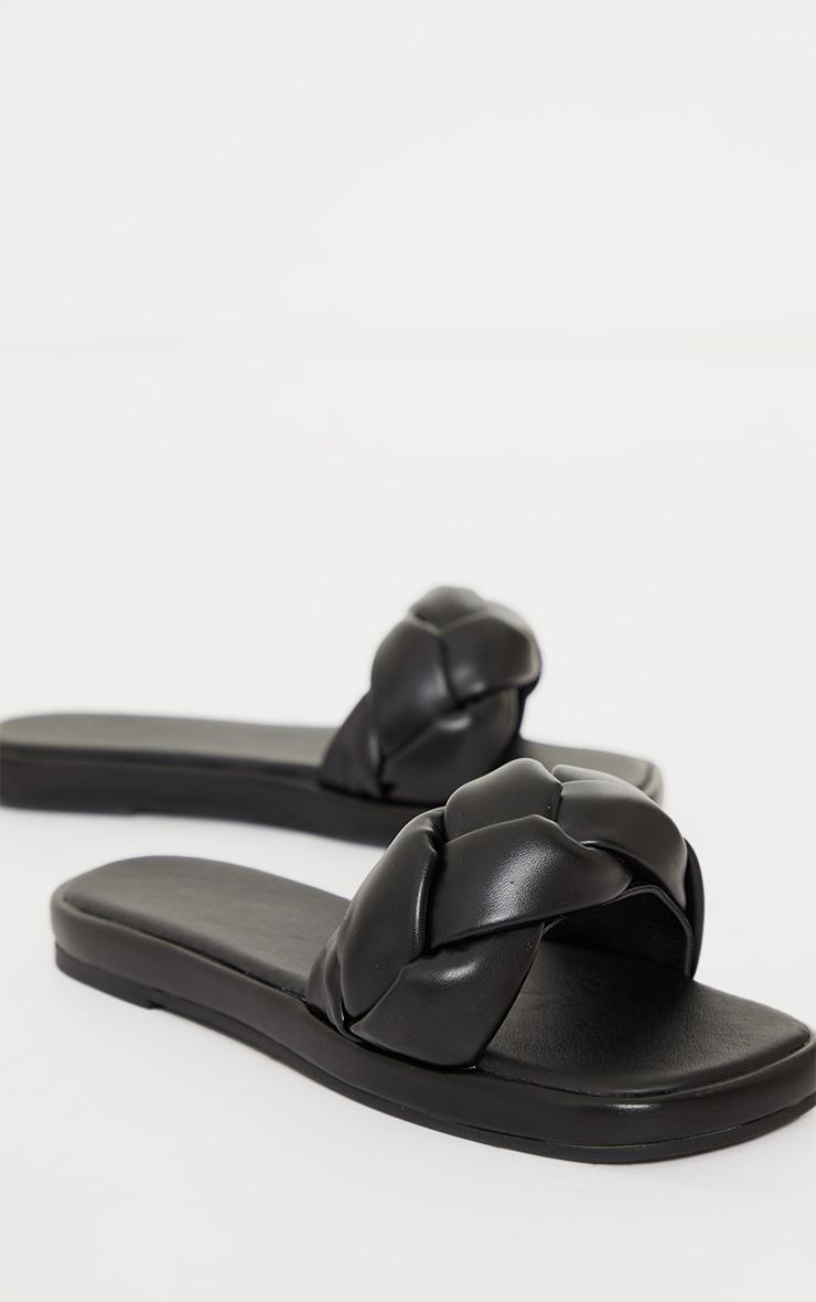 Black PU Padded Plait Square Toe Mule Flat Sandals 3