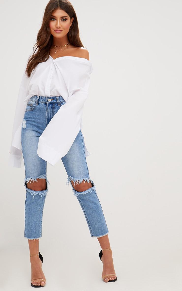 White Oversized Off Shoulder Shirt 4