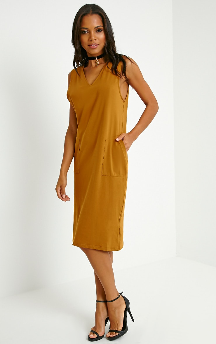 Raine Dark Mustard V Front T-Shirt Dress 3
